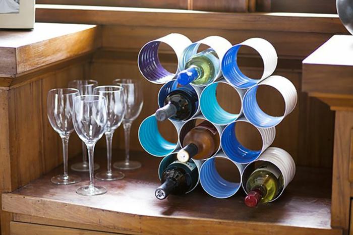 rangement bouteilles boîte de conserve