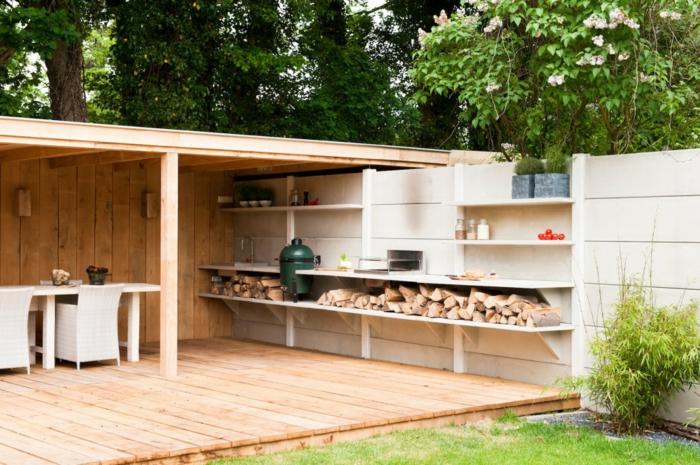 salon de jardin en bois avec coin repas