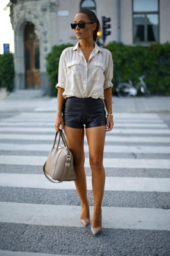 short chemise blanche femme et talons