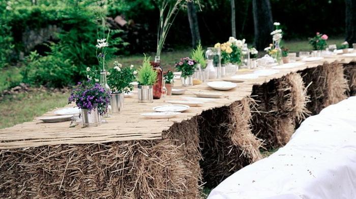 table bottes de foin