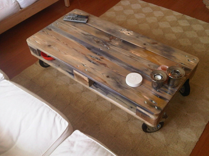 Table basse en palette faire soi m me pour d corer le salon - Table salon en palette bois ...