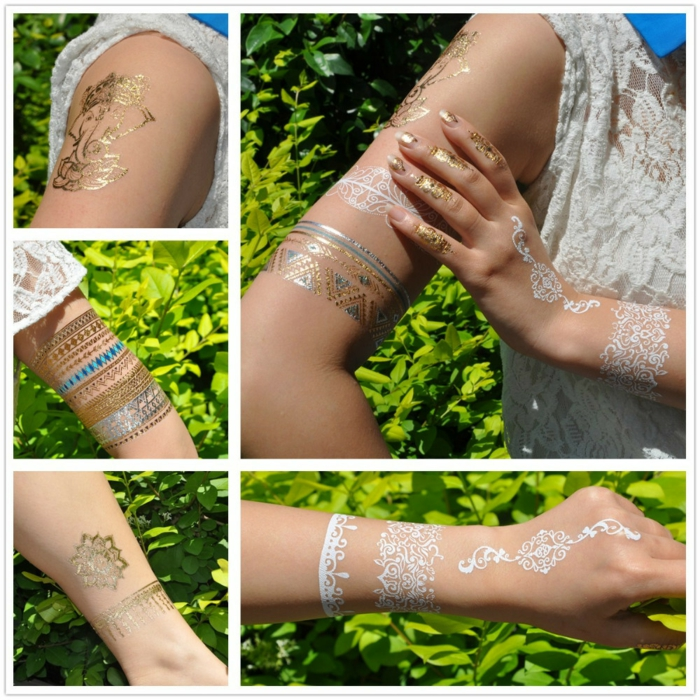 tatouage éphémère métalique stylé et élégant