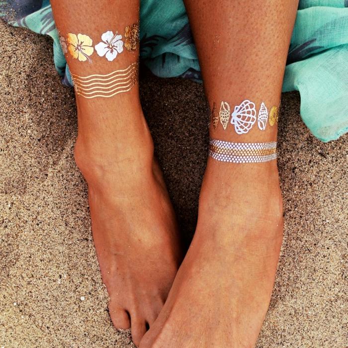 tatouage éphémère métallisé
