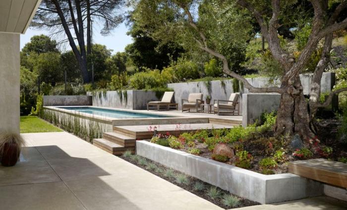 terrassement de jardin murs de béton
