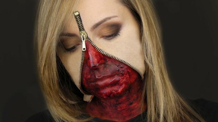 zipper pour faire un maquillage halloween femme