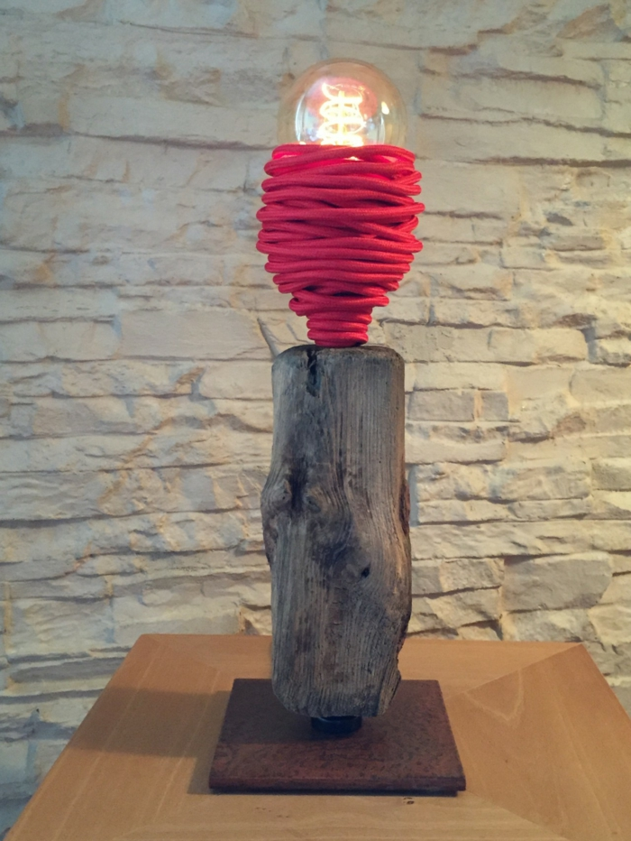 bois flotté lampe de chevet