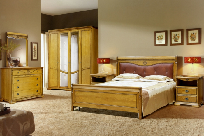 chambre à coucher meubles patinés