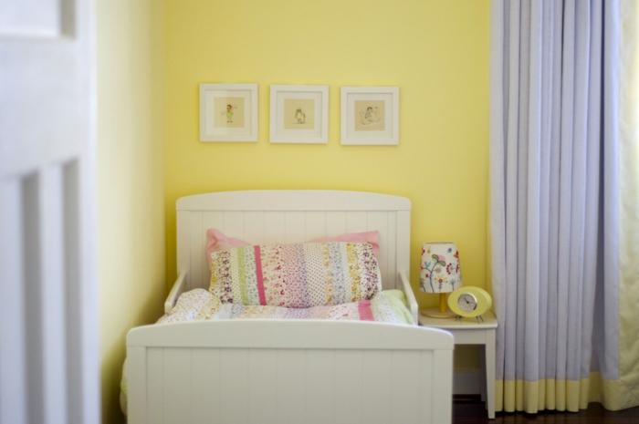chambre enfant en jaune couleur pour agrandir une pièce