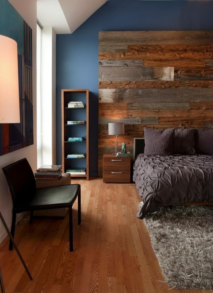 chambre moderne avec parquet stratifié sur un mur