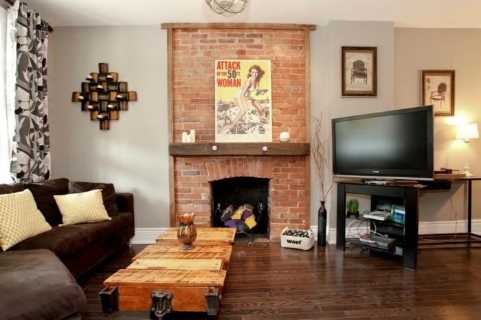 cheminée briques salon