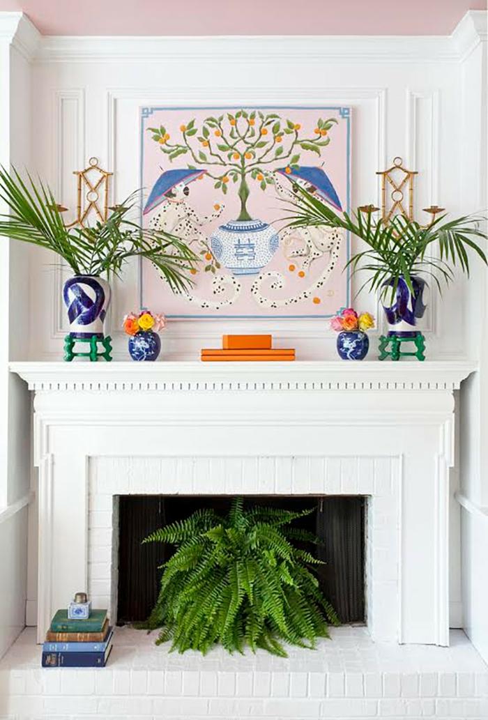cheminée décorative vases plantes