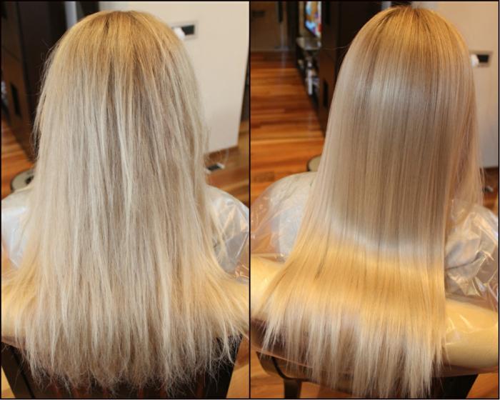 cheveux blonds lissage brésilien