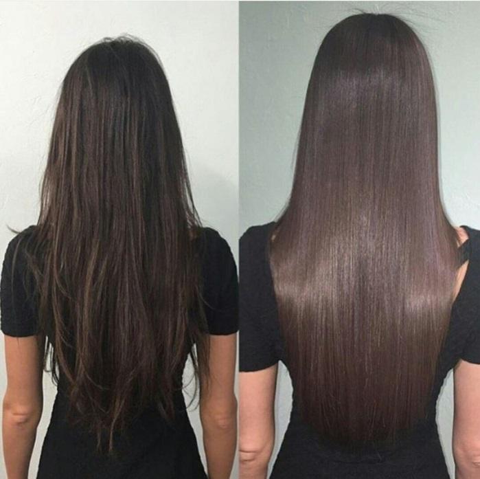 cheveux brillants à l'aide de lissage brésilien