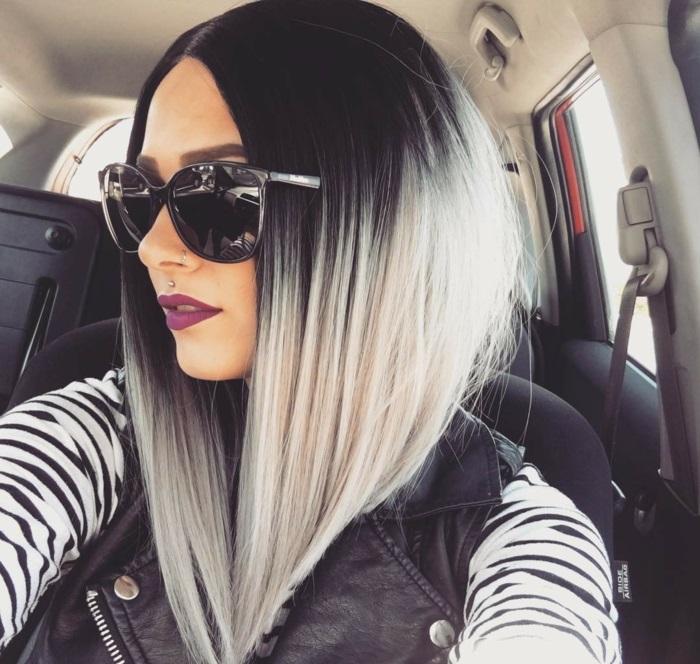 cheveux gris carré plongeant