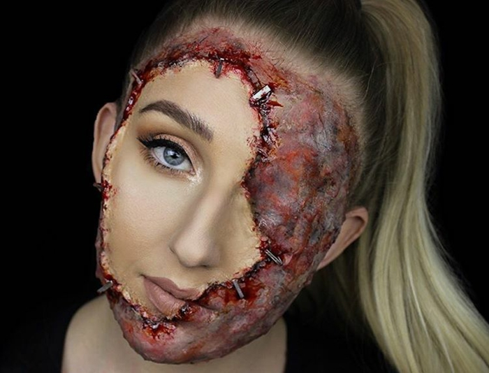 maquillage zombie brule