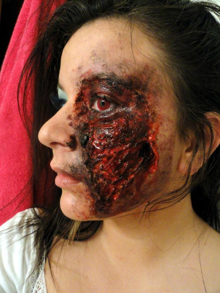 déguisement halloween visage brûlé