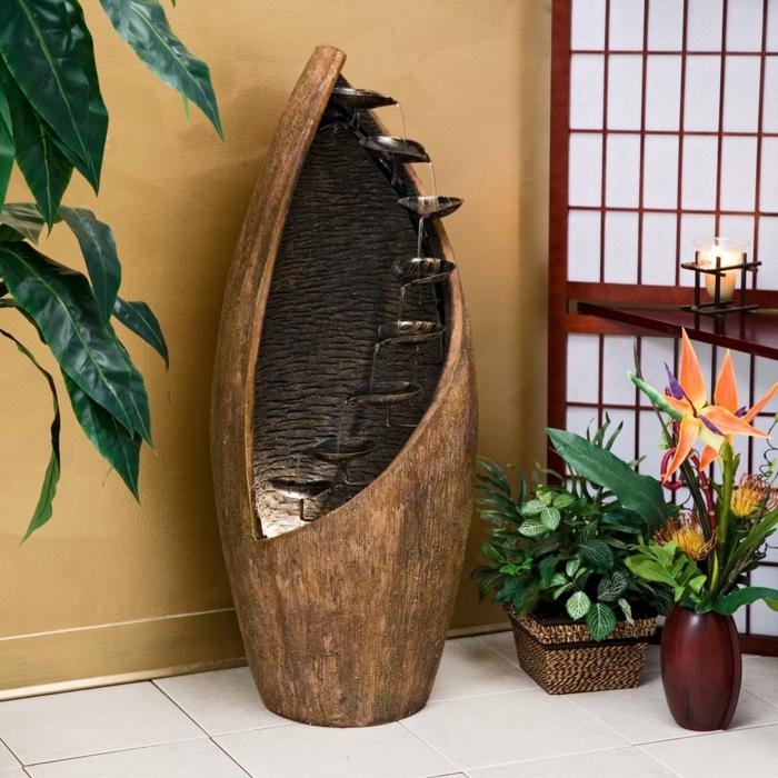 fontaine bois métal