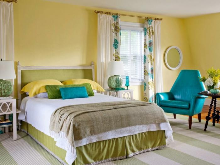 jaune chambre à coucher- couleur pour agrandir une pièce