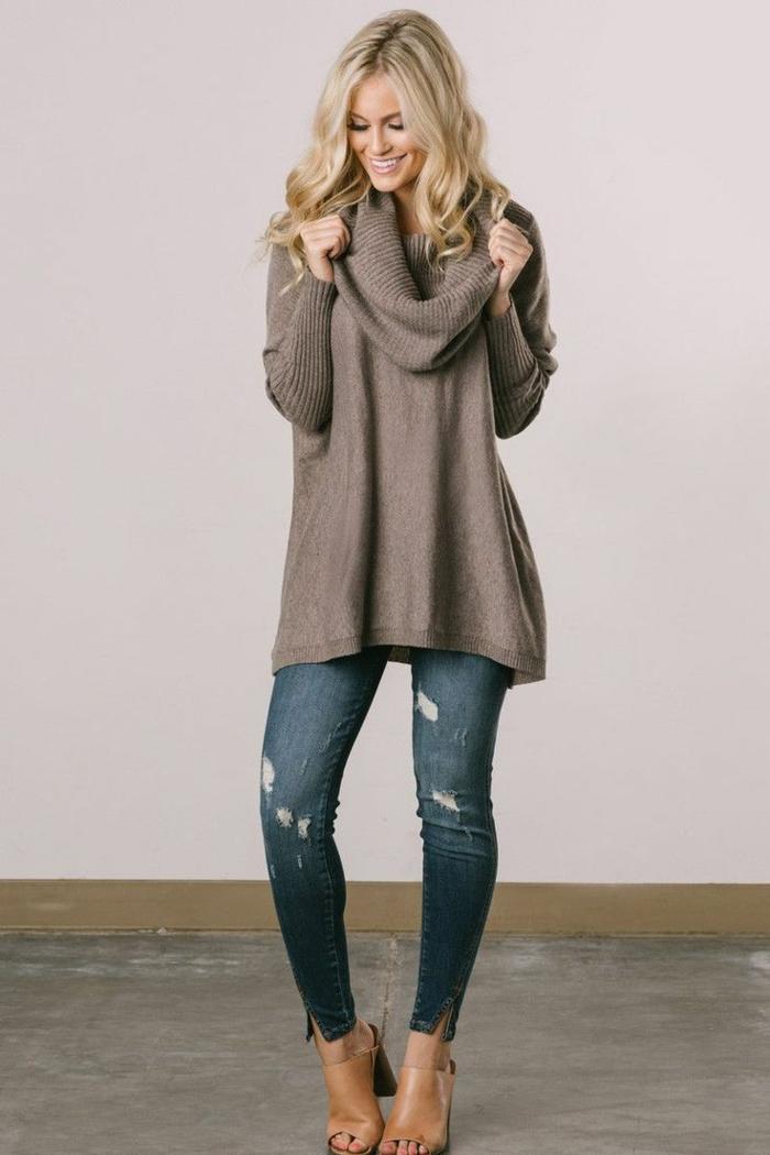 jeans et pull oversize- look moderne