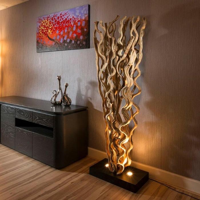 lampe bois flotté design