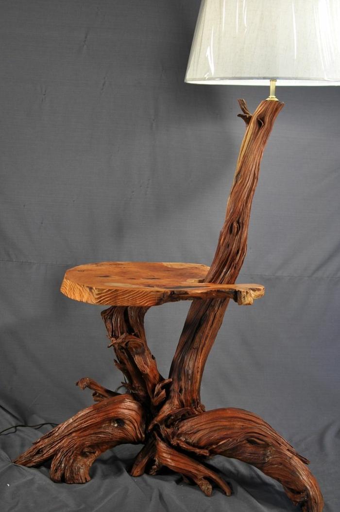 lampe déco de bois flotté