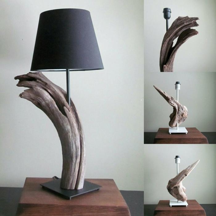 lampe fabriquée de bois flotté