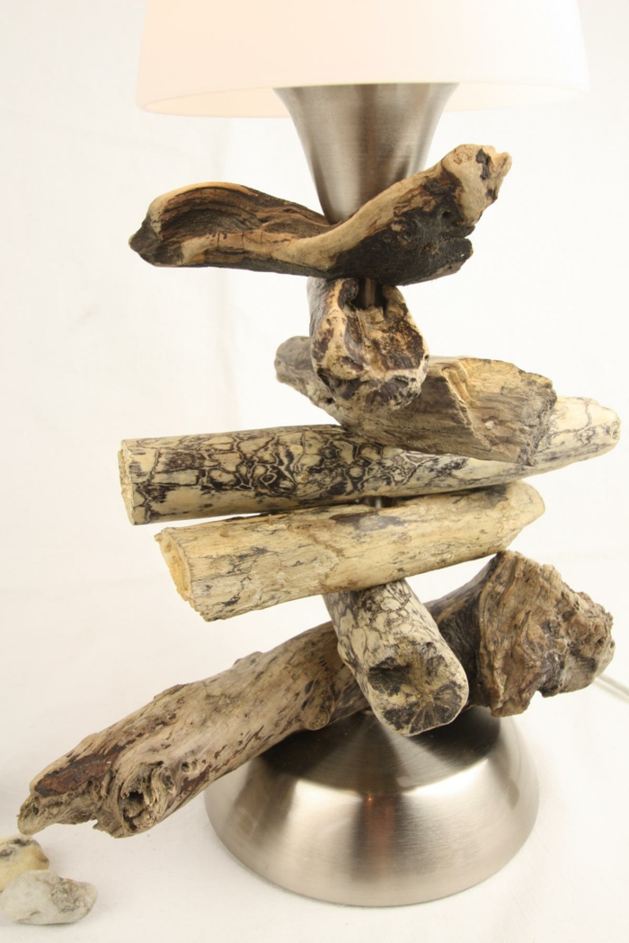 lampe rustique bois flotté