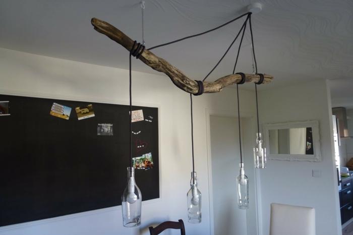lampe suspendue bois bouteuilles