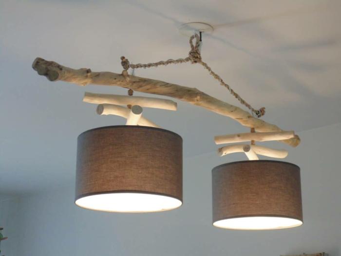 lampe suspendue bois flotté
