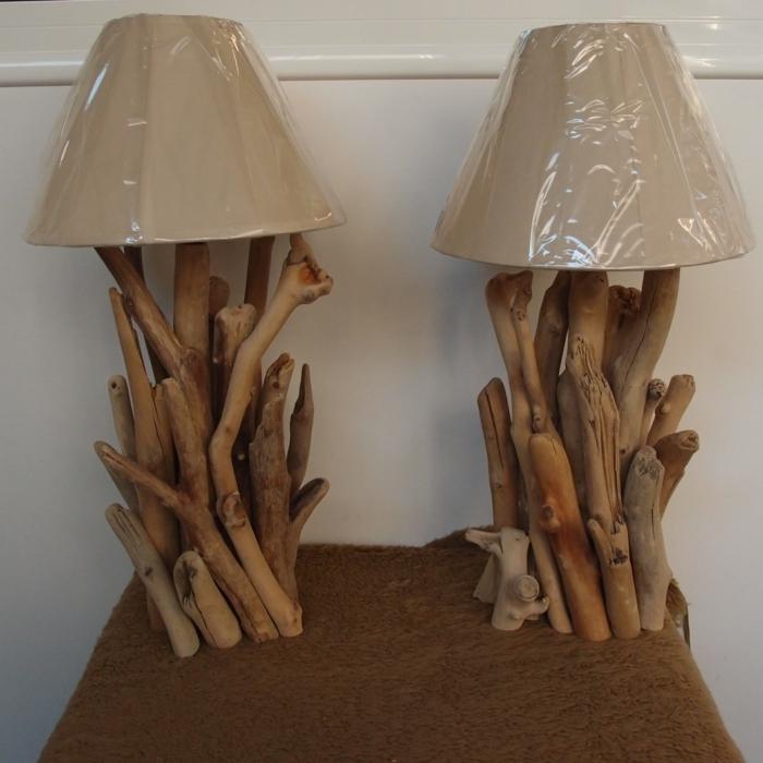 lampes pieds de bois flotté