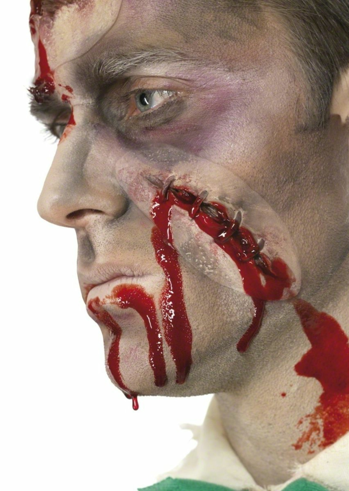 maquillage fausse plaie halloween homme