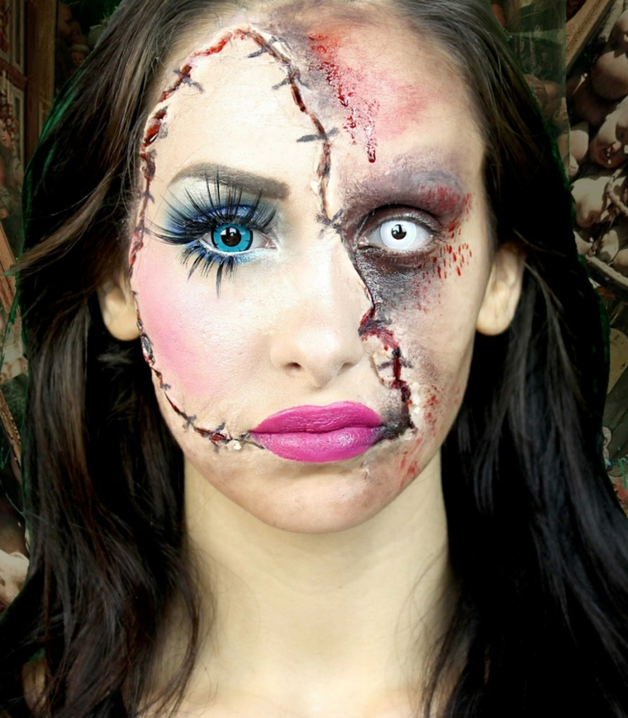 maquillage halloween poupée