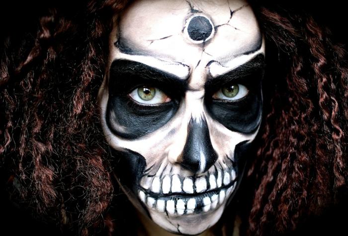 maquillage halloween squelette femme