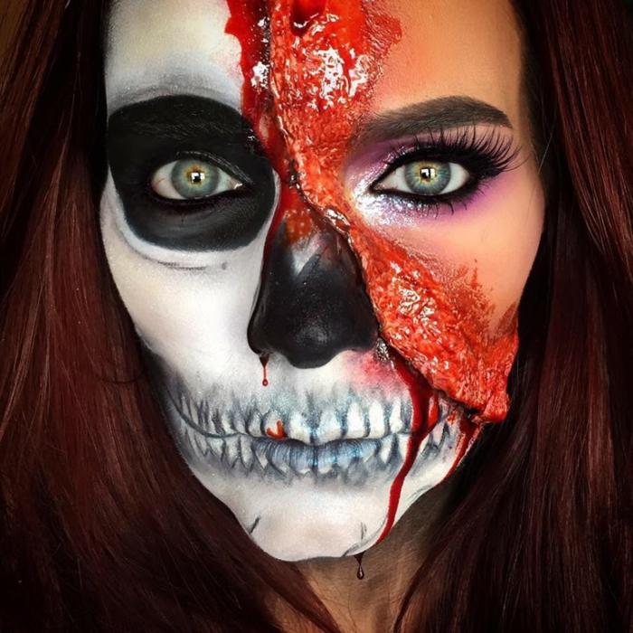 maquillage halloween squelette