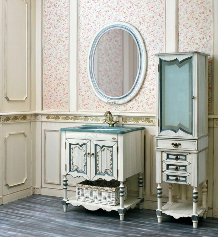 meuble salle de bains patine bleue