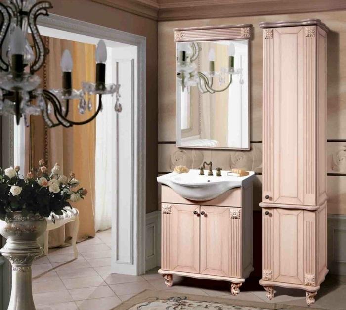 meuble salle de bains patine rose