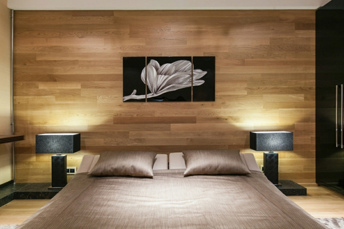 parquet stratifi sur le mur un am nagement mural tr s tendance. Black Bedroom Furniture Sets. Home Design Ideas