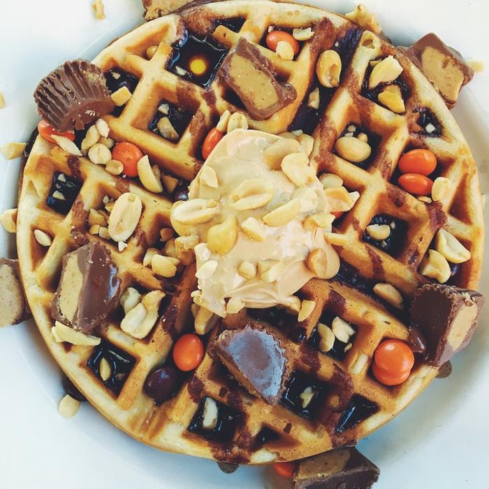 recette gaufre et cacahuètes
