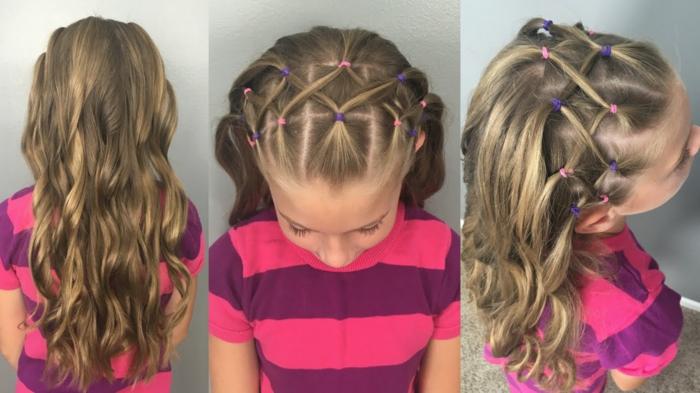 très jolie coiffure fille-idée avec élastiques