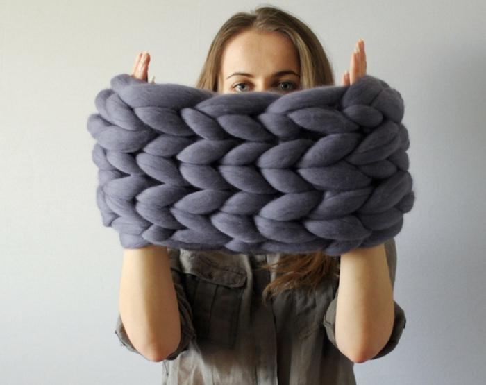 écharpe femme arm knitting