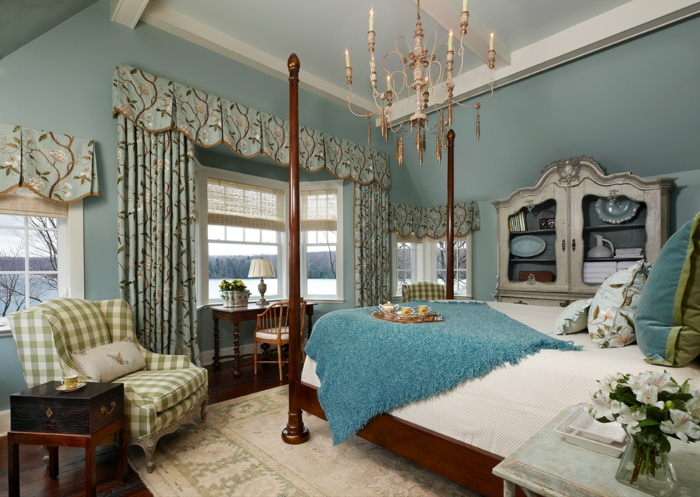 aménager une chambre bleu canard