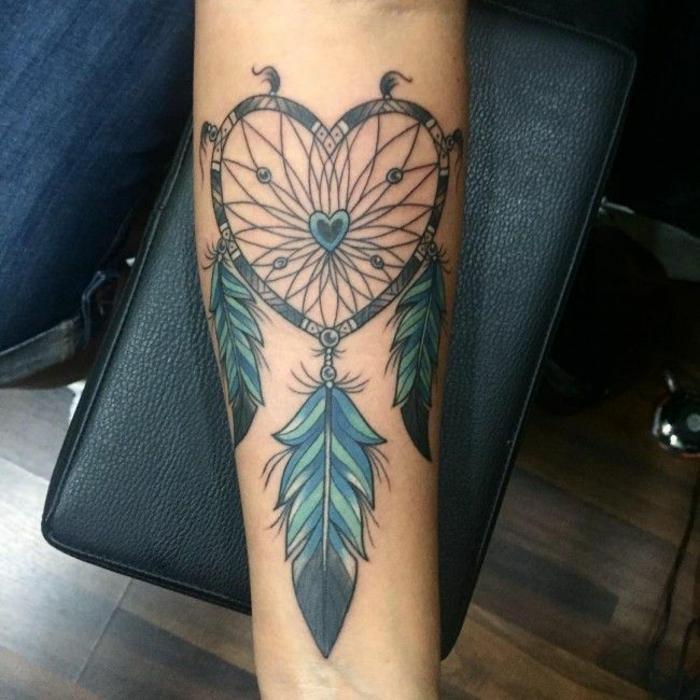 attrape-rêve coeur tatouage