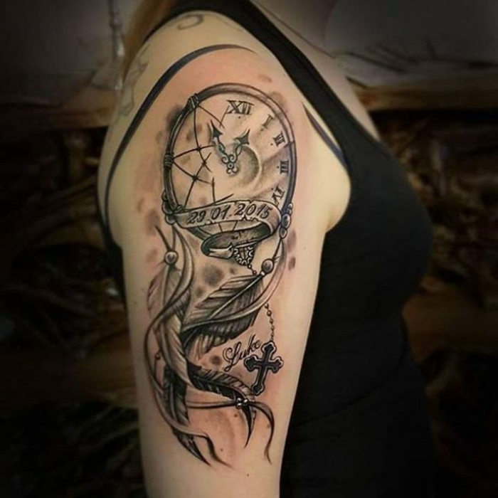 attrape-rêve horloge tatouage