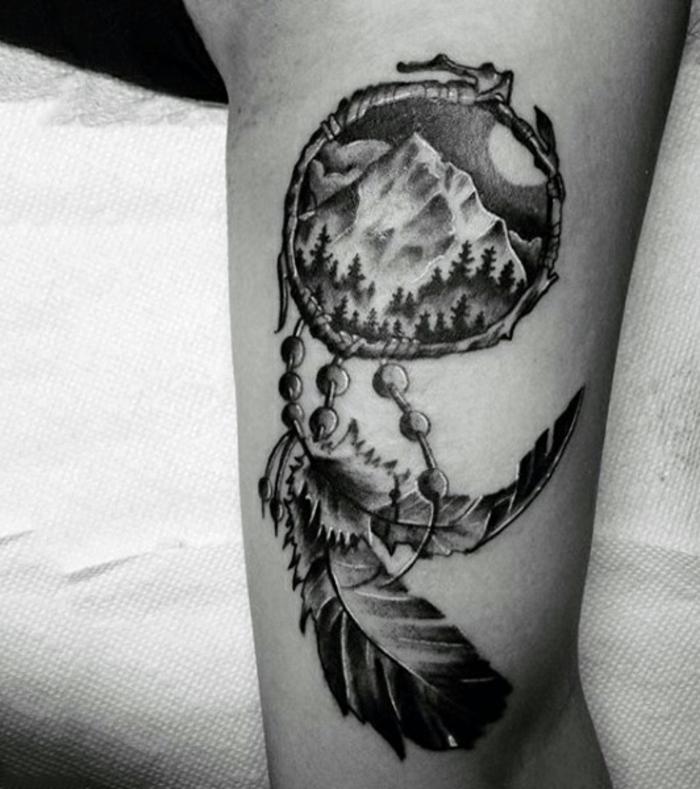 attrape-rêve tattouage design thème nature homme