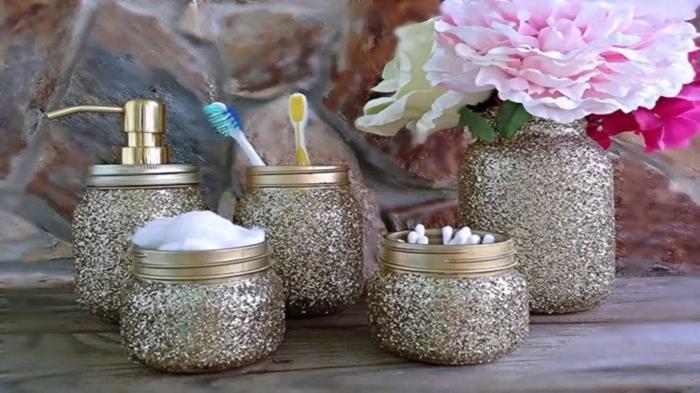 bocaux décorés effet doré