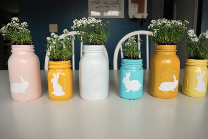 bocaux verre Mason jar peints