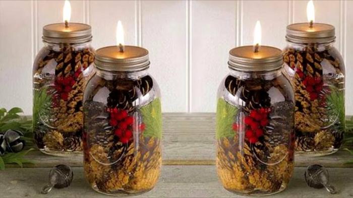 bocaux verre décorés fête