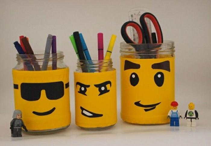 bocaux verre pot à crayon bureau