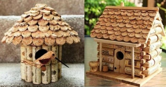 cabane à oiseaux bouchons de liège