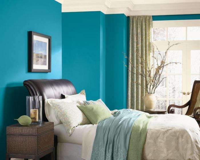 chambre à coucher bleu canard